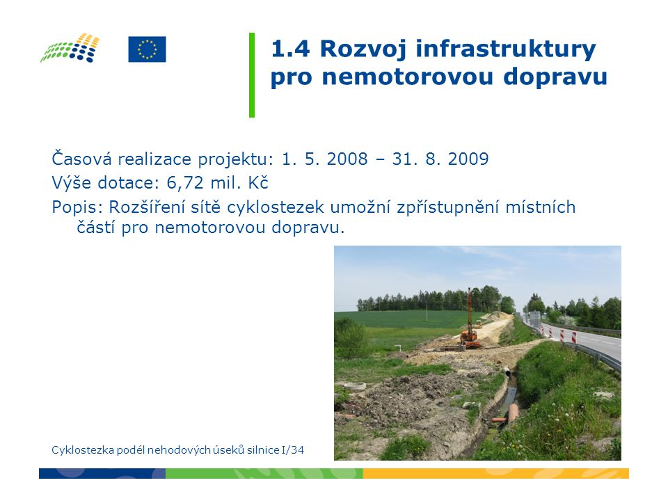 1.4 Rozvoj infrastruktury pro nemotorovou dopravu Časová realizace projektu: 1. 5. 2008 – 31. 8. 2009 Výše dotace: 6,72 mil. Kč Popis: Rozšíření sítě