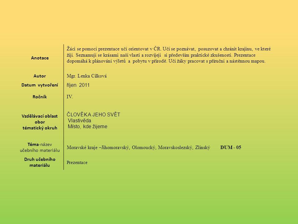 Anotace Žáci se pomocí prezentace učí orientovat v ČR.