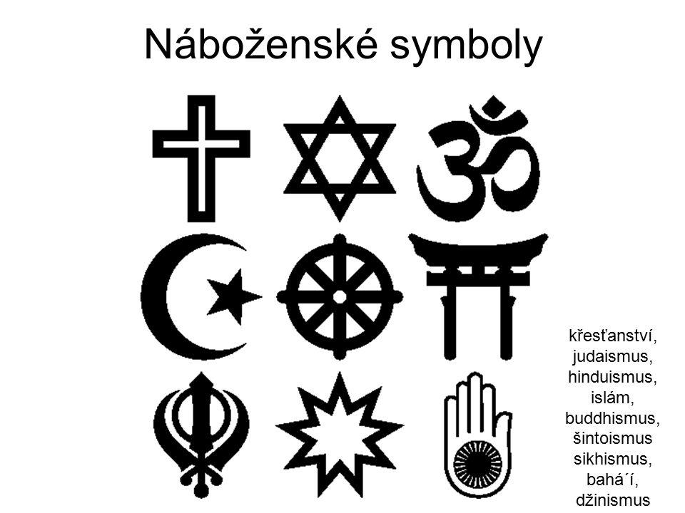 Náboženské symboly křesťanství, judaismus, hinduismus, islám, buddhismus, šintoismus sikhismus, bahá´í, džinismus