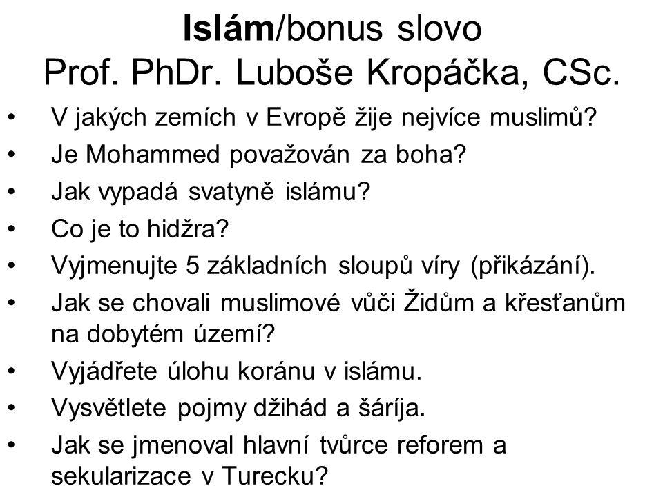 Islám/bonus slovo Prof. PhDr. Luboše Kropáčka, CSc.