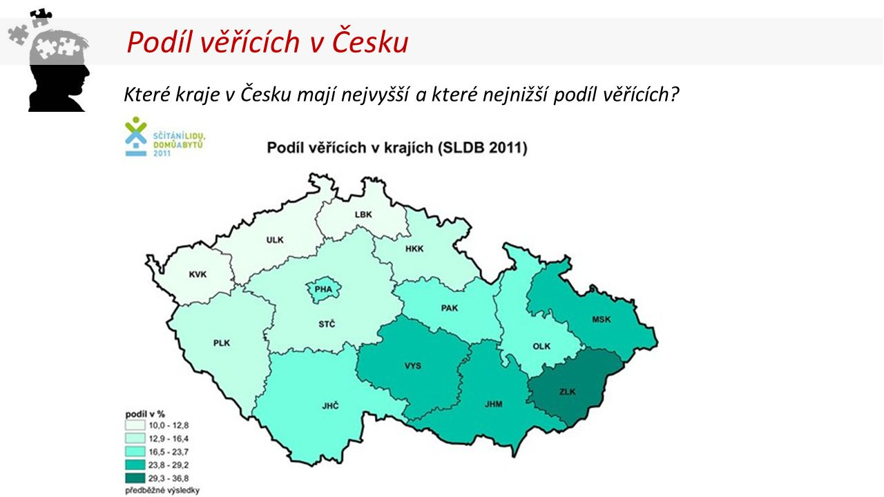 Které kraje v Česku mají nejvyšší a které nejnižší podíl věřících? Podíl věřících v Česku