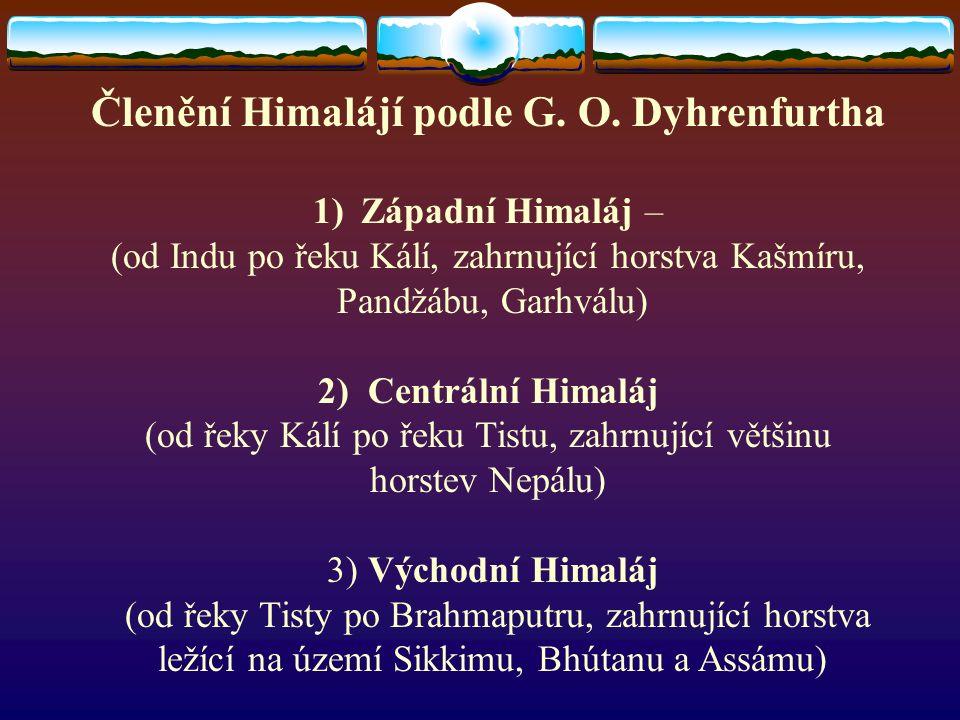 Členění Himalájí podle G.O.