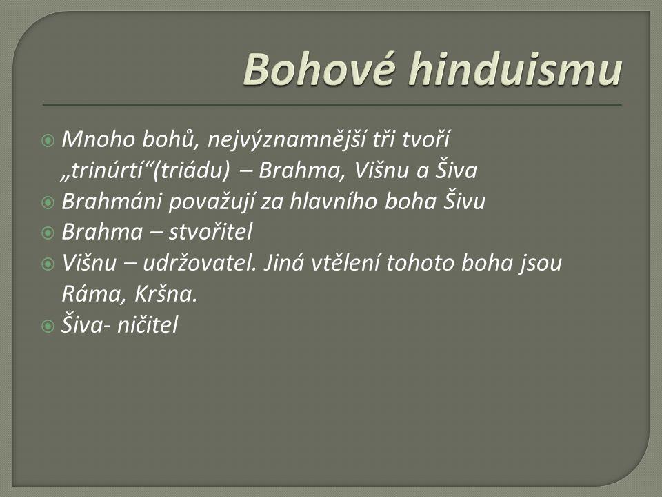 """ Mnoho bohů, nejvýznamnější tři tvoří """"trinúrtí (triádu) – Brahma, Višnu a Šiva  Brahmáni považují za hlavního boha Šivu  Brahma – stvořitel  Višnu – udržovatel."""