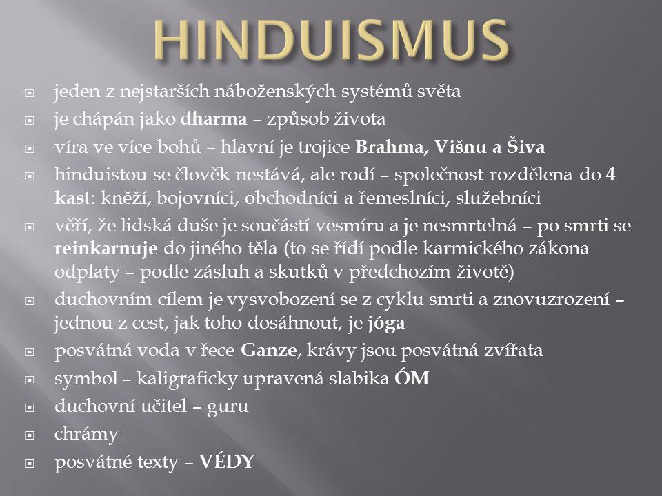  jeden z nejstarších náboženských systémů světa  je chápán jako dharma – způsob života  víra ve více bohů – hlavní je trojice Brahma, Višnu a Šiva  hinduistou se člověk nestává, ale rodí – společnost rozdělena do 4 kast : kněží, bojovníci, obchodníci a řemeslníci, služebníci  věří, že lidská duše je součástí vesmíru a je nesmrtelná – po smrti se reinkarnuje do jiného těla (to se řídí podle karmického zákona odplaty – podle zásluh a skutků v předchozím životě)  duchovním cílem je vysvobození se z cyklu smrti a znovuzrození – jednou z cest, jak toho dosáhnout, je jóga  posvátná voda v řece Ganze, krávy jsou posvátná zvířata  symbol – kaligraficky upravená slabika ÓM  duchovní učitel – guru  chrámy  posvátné texty – VÉDY