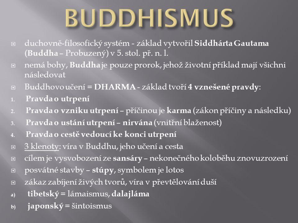  duchovně-filosofický systém - základ vytvořil Siddhárta Gautama ( Buddha – Probuzený) v 5.