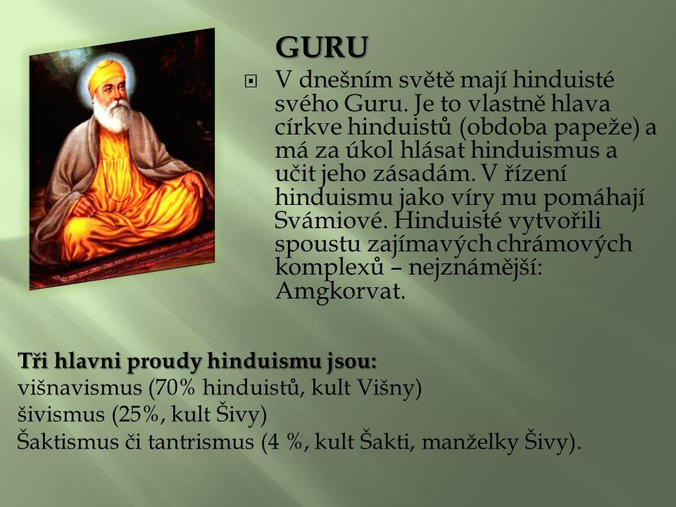 GURU  V dnešním světě mají hinduisté svého Guru.