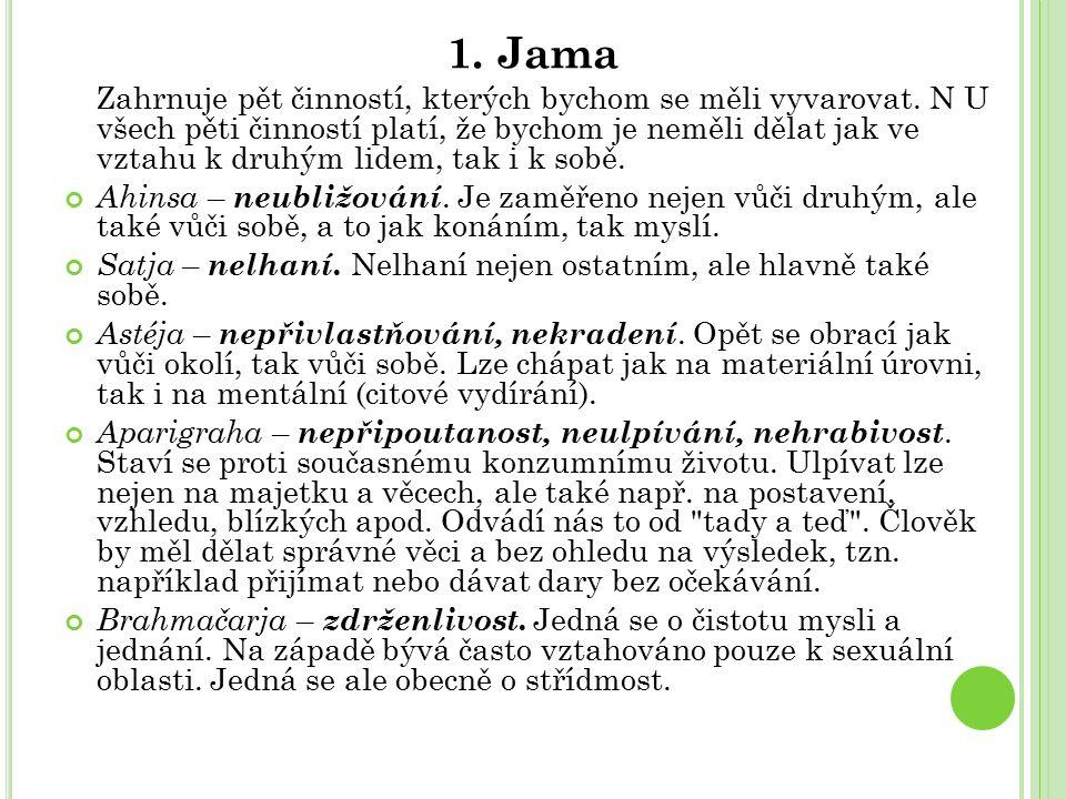 1. Jama Zahrnuje pět činností, kterých bychom se měli vyvarovat.