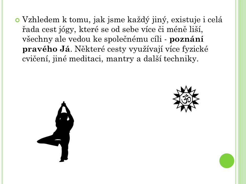 Vzhledem k tomu, jak jsme každý jiný, existuje i celá řada cest jógy, které se od sebe více či méně liší, všechny ale vedou ke společnému cíli - pozná