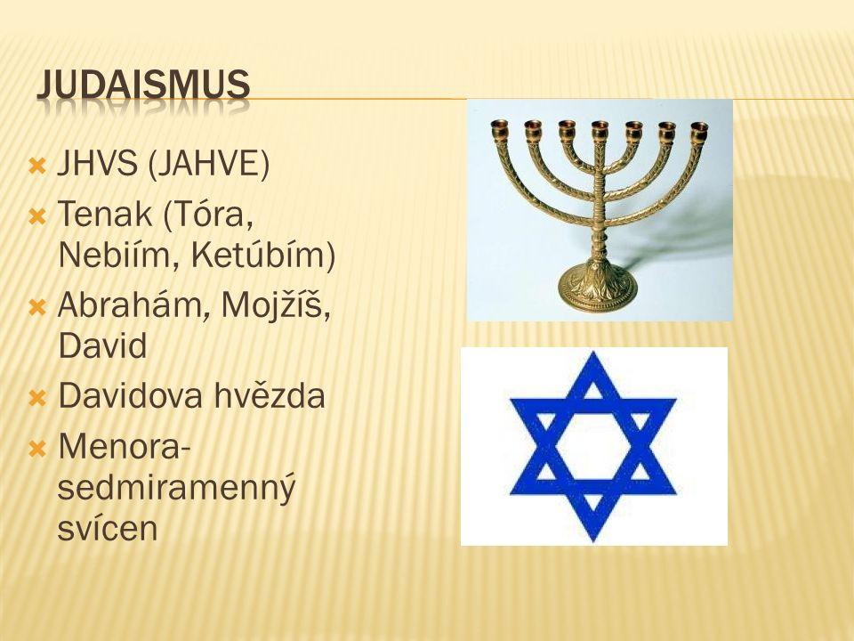  JHVS (JAHVE)  Tenak (Tóra, Nebiím, Ketúbím)  Abrahám, Mojžíš, David  Davidova hvězda  Menora- sedmiramenný svícen