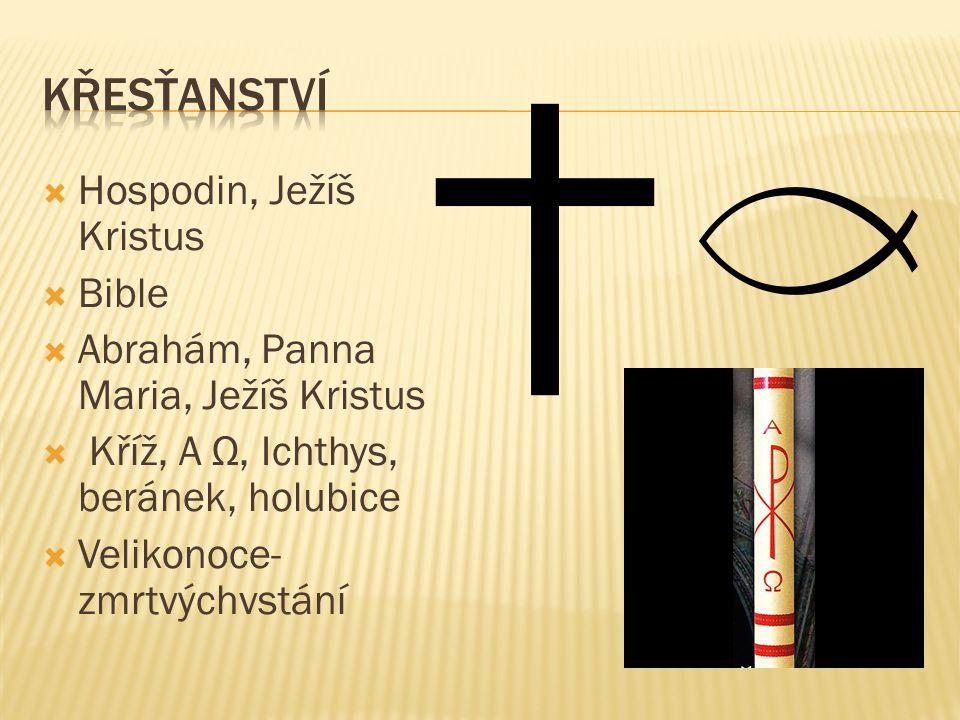  Hospodin, Ježíš Kristus  Bible  Abrahám, Panna Maria, Ježíš Kristus  Kříž, A Ω, Ichthys, beránek, holubice  Velikonoce- zmrtvýchvstání