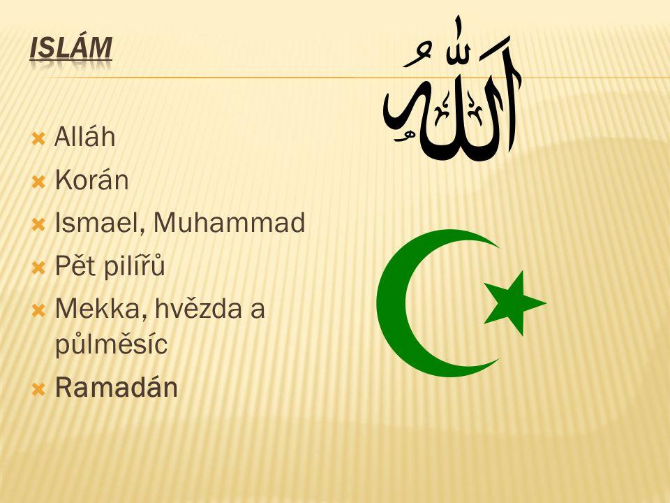  Alláh  Korán  Ismael, Muhammad  Pět pilířů  Mekka, hvězda a půlměsíc  Ramadán