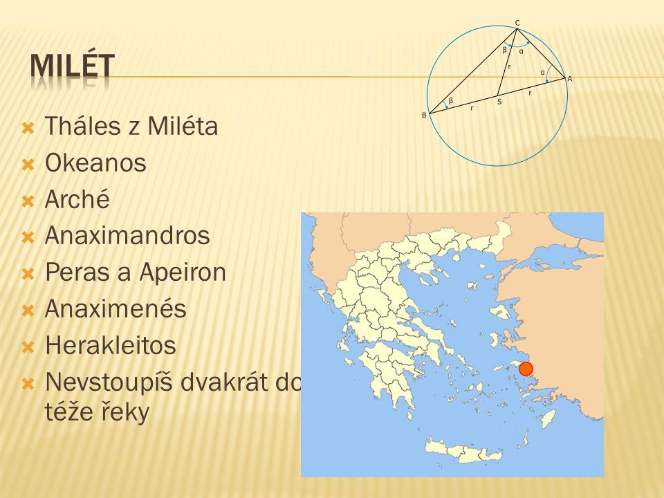  Tháles z Miléta  Okeanos  Arché  Anaximandros  Peras a Apeiron  Anaximenés  Herakleitos  Nevstoupíš dvakrát do téže řeky