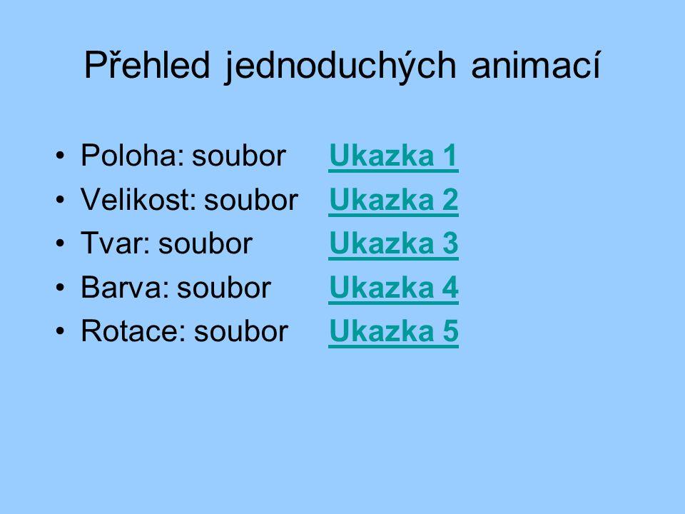 Přehled jednoduchých animací Poloha: soubor Ukazka 1Ukazka 1 Velikost: soubor Ukazka 2Ukazka 2 Tvar: soubor Ukazka 3Ukazka 3 Barva: soubor Ukazka 4Ukazka 4 Rotace: soubor Ukazka 5Ukazka 5