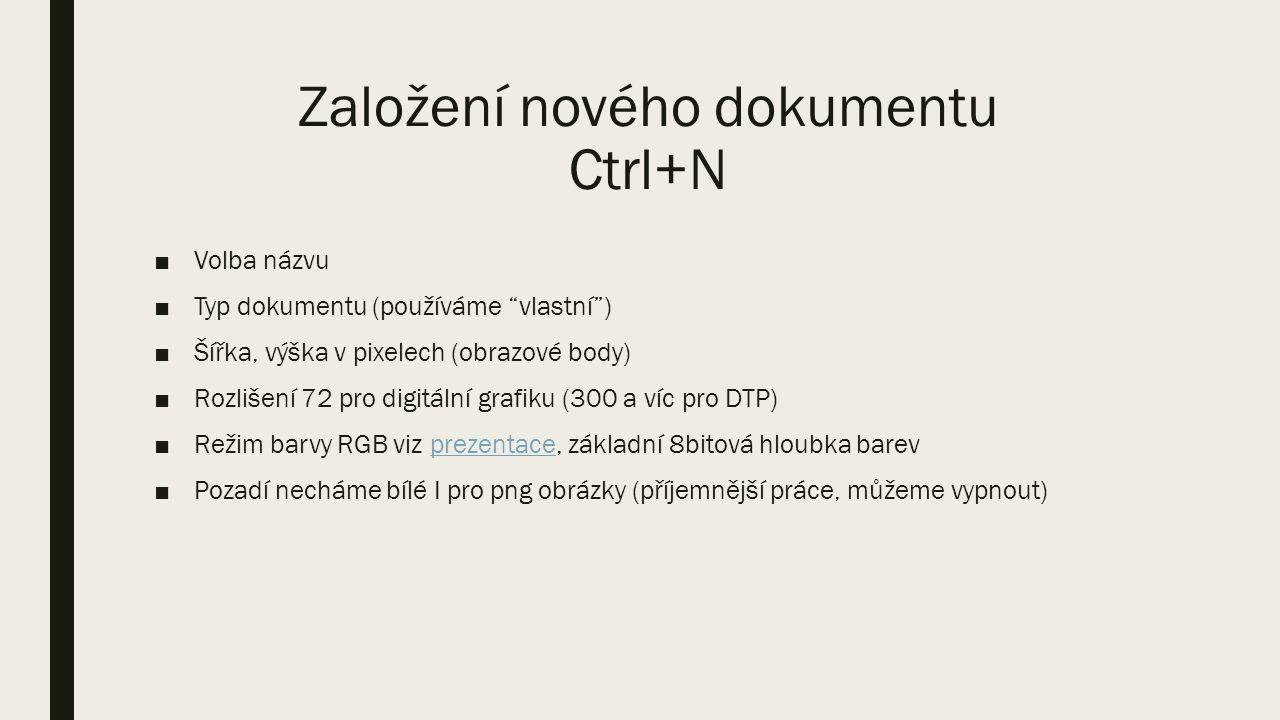 """Založení nového dokumentu Ctrl+N ■Volba názvu ■Typ dokumentu (používáme """"vlastní"""") ■Šířka, výška v pixelech (obrazové body) ■Rozlišení 72 pro digitáln"""