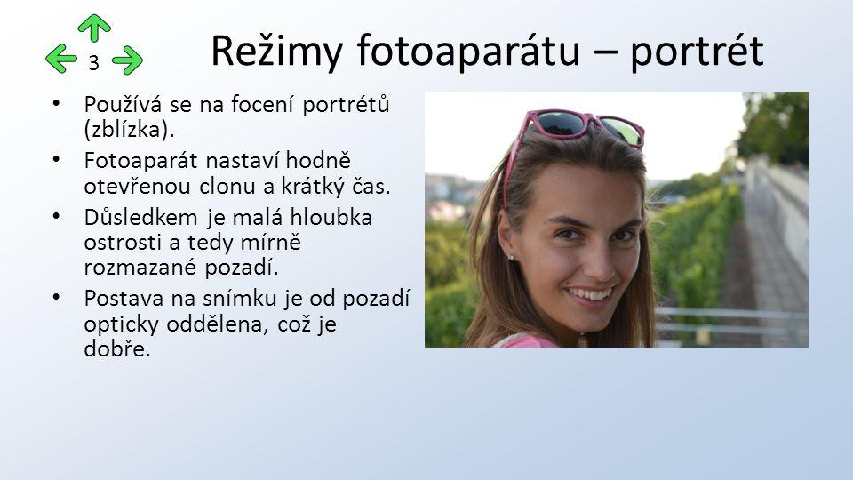 Používá se na focení portrétů (zblízka). Fotoaparát nastaví hodně otevřenou clonu a krátký čas.