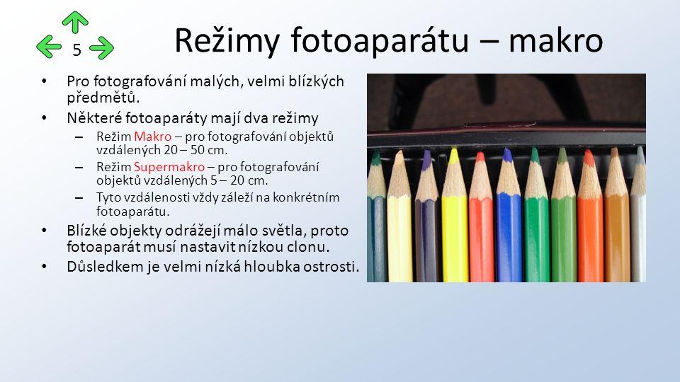 Pro fotografování malých, velmi blízkých předmětů.