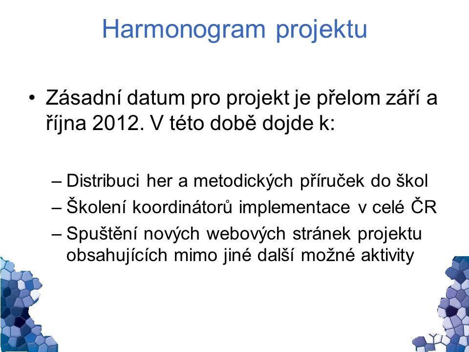 Harmonogram projektu Zásadní datum pro projekt je přelom září a října 2012.