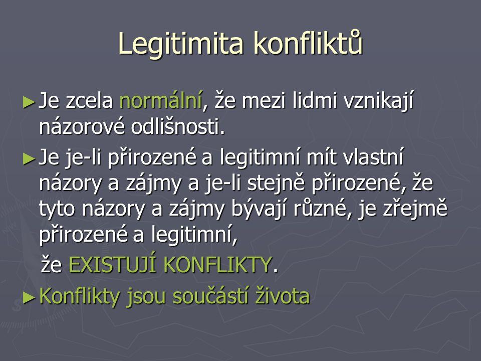 Legitimita konfliktů ► Je zcela normální, že mezi lidmi vznikají názorové odlišnosti.