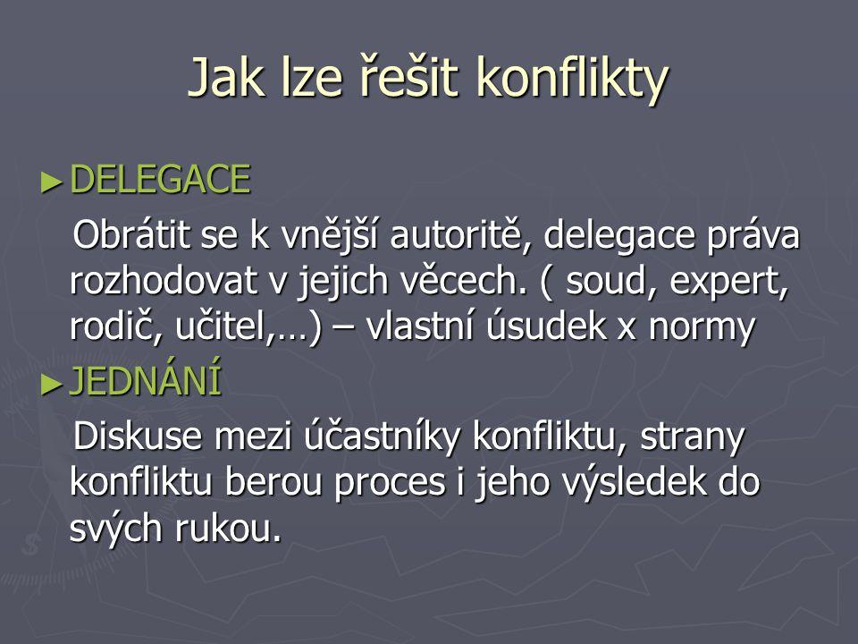 Jak lze řešit konflikty ► DELEGACE Obrátit se k vnější autoritě, delegace práva rozhodovat v jejich věcech.