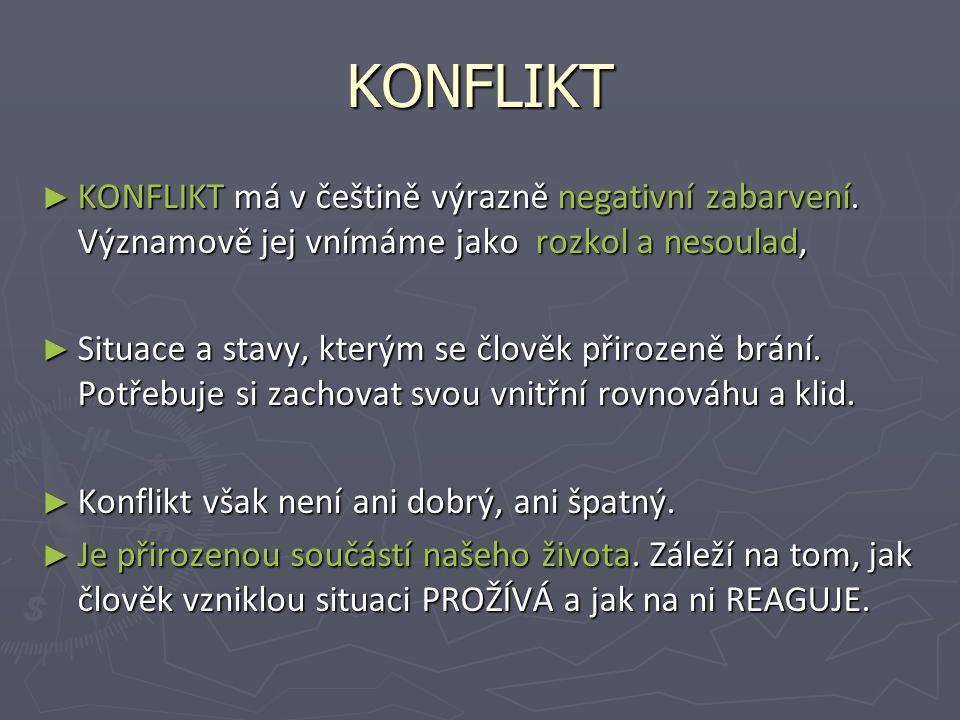 KONFLIKT ► KONFLIKT má v češtině výrazně negativní zabarvení.