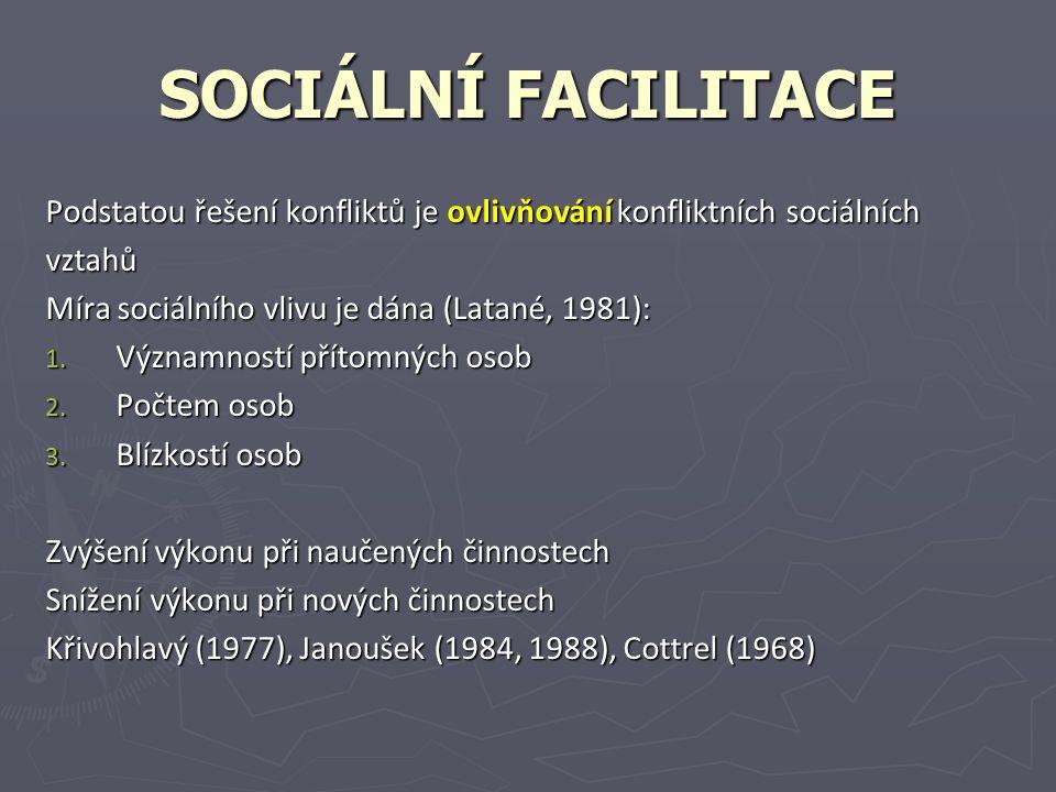 SOCIÁLNÍ FACILITACE Podstatou řešení konfliktů je ovlivňování konfliktních sociálních vztahů Míra sociálního vlivu je dána (Latané, 1981): 1.