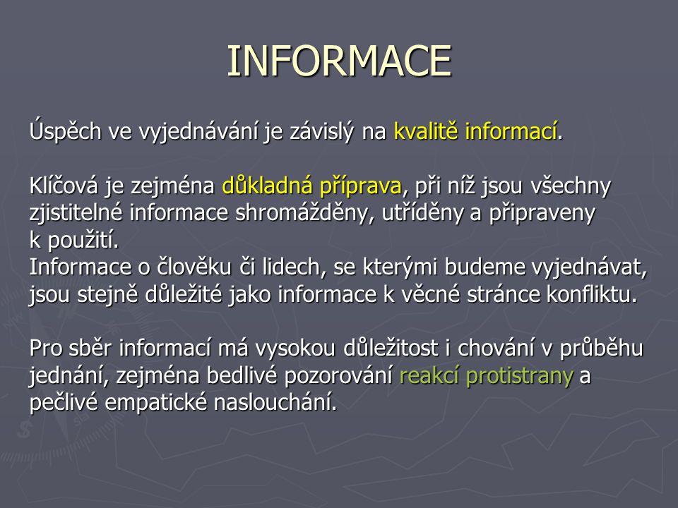 INFORMACE Úspěch ve vyjednávání je závislý na kvalitě informací.
