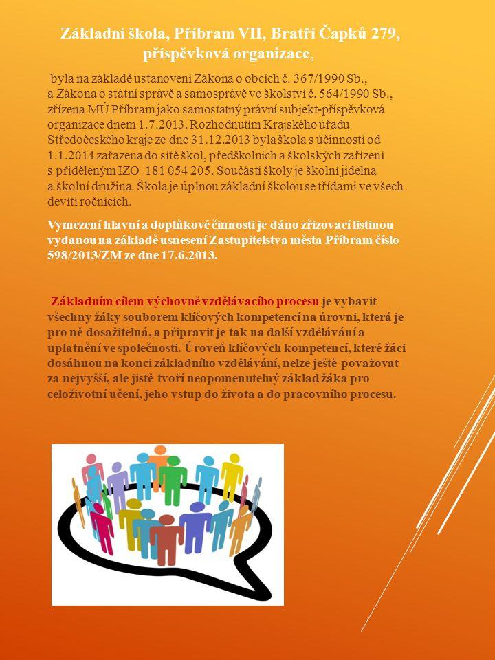 Základní škola, Příbram VII, Bratří Čapků 279, příspěvková organizace, byla na základě ustanovení Zákona o obcích č. 367/1990 Sb., a Zákona o státní s