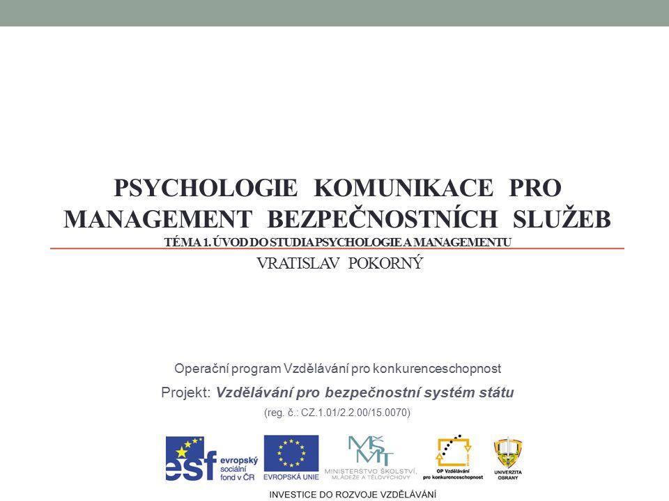 Úvod do studia psychologie komunikace a managementu