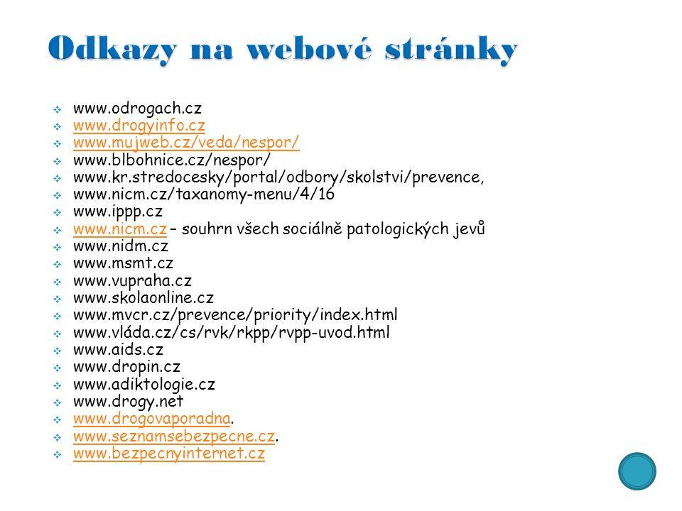  www.odrogach.cz  www.drogyinfo.cz www.drogyinfo.cz  www.mujweb.cz/veda/nespor/ www.mujweb.cz/veda/nespor/  www.blbohnice.cz/nespor/  www.kr.stredocesky/portal/odbory/skolstvi/prevence,  www.nicm.cz/taxanomy-menu/4/16  www.ippp.cz  www.nicm.cz – souhrn všech sociálně patologických jevů www.nicm.cz  www.nidm.cz  www.msmt.cz  www.vupraha.cz  www.skolaonline.cz  www.mvcr.cz/prevence/priority/index.html  www.vláda.cz/cs/rvk/rkpp/rvpp-uvod.html  www.aids.cz  www.dropin.cz  www.adiktologie.cz  www.drogy.net  www.drogovaporadna.