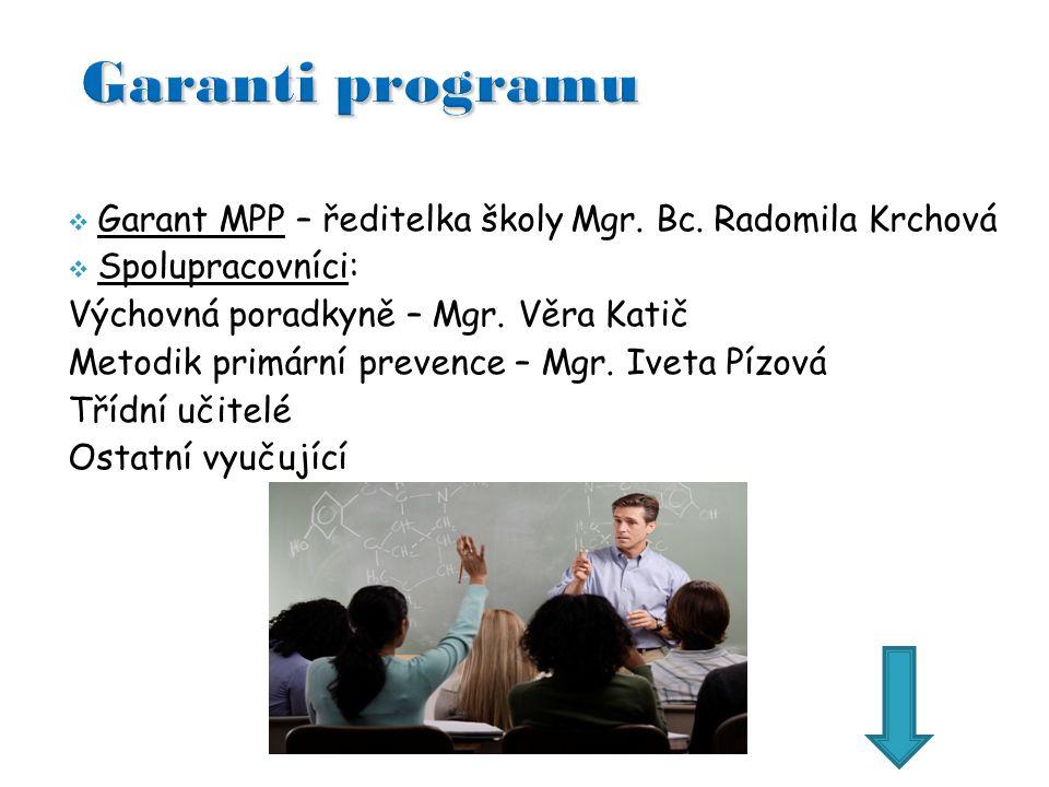 Garant MPP – ředitelka školy Mgr. Bc.