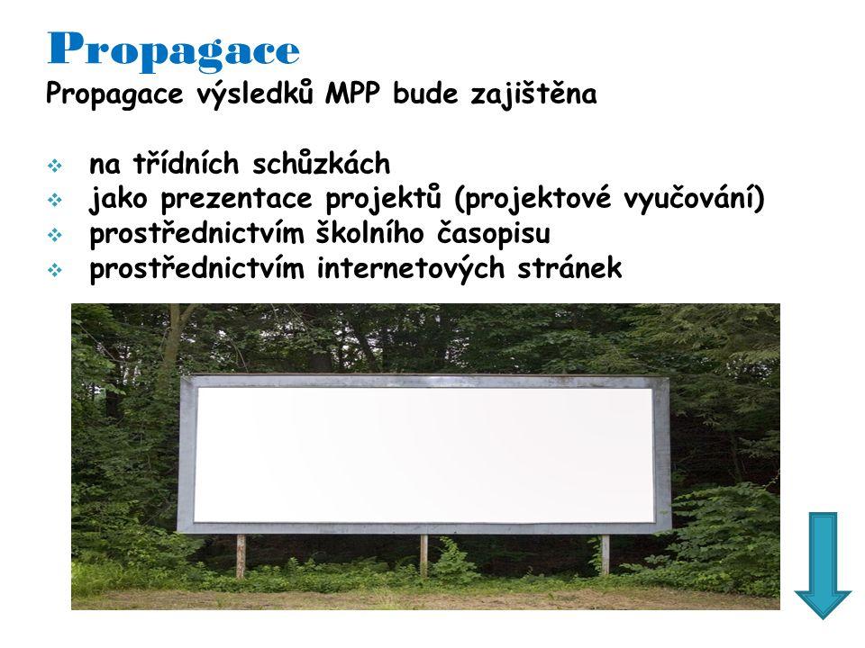 Propagace Propagace výsledků MPP bude zajištěna  na třídních schůzkách  jako prezentace projektů (projektové vyučování)  prostřednictvím školního časopisu  prostřednictvím internetových stránek