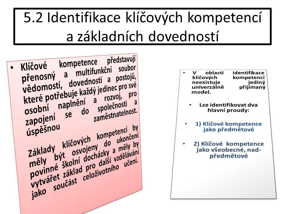 5.2 Identifikace klíčových kompetencí a základních dovedností