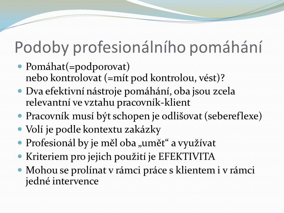 Podoby profesionálního pomáhání Pomáhat(=podporovat) nebo kontrolovat (=mít pod kontrolou, vést).