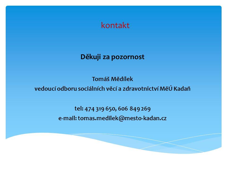 kontakt Děkuji za pozornost Tomáš Mědílek vedoucí odboru sociálních věcí a zdravotnictví MěÚ Kadaň tel: 474 319 650, 606 849 269 e-mail: tomas.medilek@mesto-kadan.cz