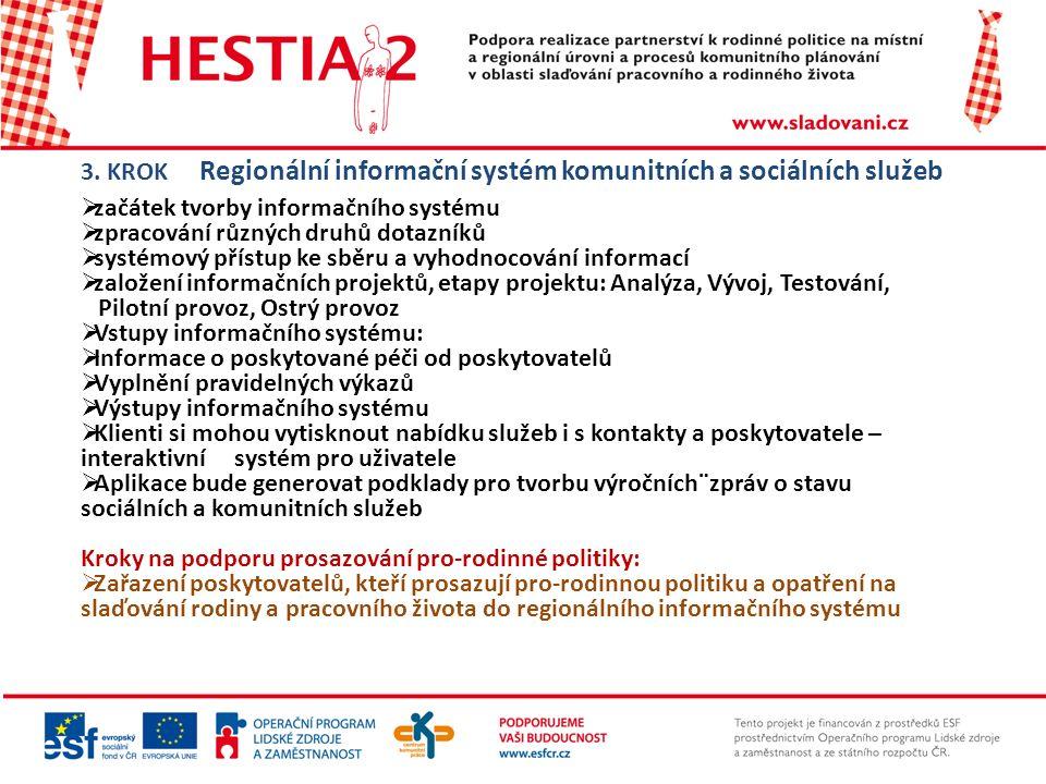 3. KROK Regionální informační systém komunitních a sociálních služeb  začátek tvorby informačního systému  zpracování různých druhů dotazníků  syst