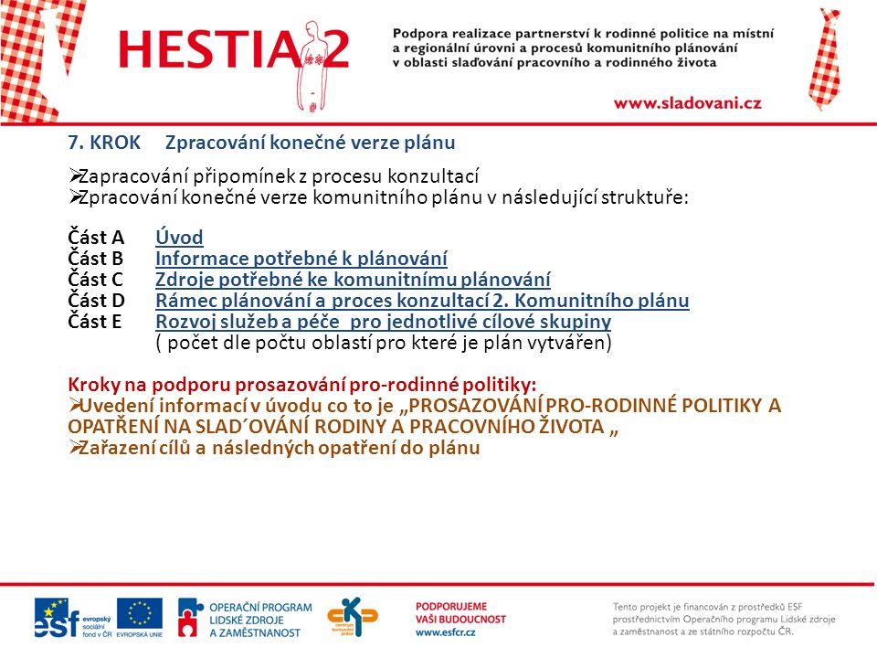 7. KROK Zpracování konečné verze plánu  Zapracování připomínek z procesu konzultací  Zpracování konečné verze komunitního plánu v následující strukt