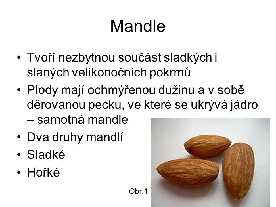 Mandle Tvoří nezbytnou součást sladkých i slaných velikonočních pokrmů Plody mají ochmýřenou dužinu a v sobě děrovanou pecku, ve které se ukrývá jádro – samotná mandle Dva druhy mandlí Sladké Hořké Obr.1