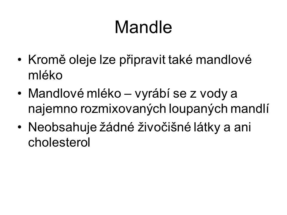 Mandle Kromě oleje lze připravit také mandlové mléko Mandlové mléko – vyrábí se z vody a najemno rozmixovaných loupaných mandlí Neobsahuje žádné živočišné látky a ani cholesterol