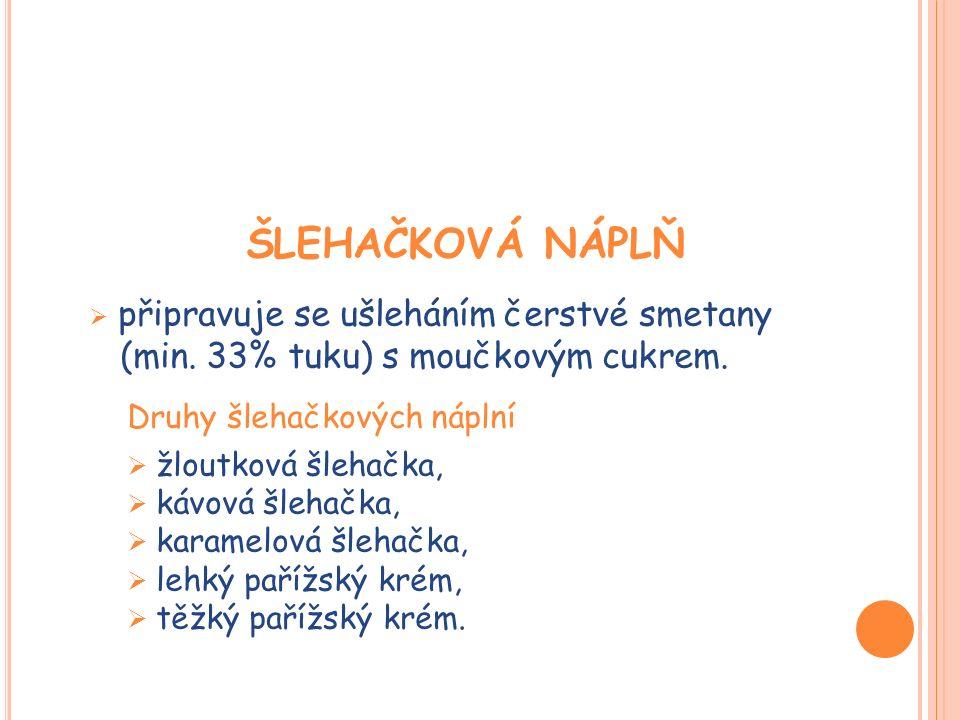 ŠLEHAČKOVÁ NÁPLŇ  připravuje se ušleháním čerstvé smetany (min. 33% tuku) s moučkovým cukrem. Druhy šlehačkových náplní  žloutková šlehačka,  kávov