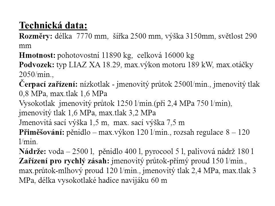 Technická data: Rozměry: délka 7770 mm, šířka 2500 mm, výška 3150mm, světlost 290 mm Hmotnost: pohotovostní 11890 kg, celková 16000 kg Podvozek: typ LIAZ XA 18.29, max.výkon motoru 189 kW, max.otáčky 2050/min., Čerpací zařízení: nízkotlak - jmenovitý průtok 2500l/min., jmenovitý tlak 0,8 MPa, max.tlak 1,6 MPa Vysokotlak jmenovitý průtok 1250 l/min.(při 2,4 MPa 750 l/min), jmenovitý tlak 1,6 MPa, max.tlak 3,2 MPa Jmenovitá sací výška 1,5 m, max.
