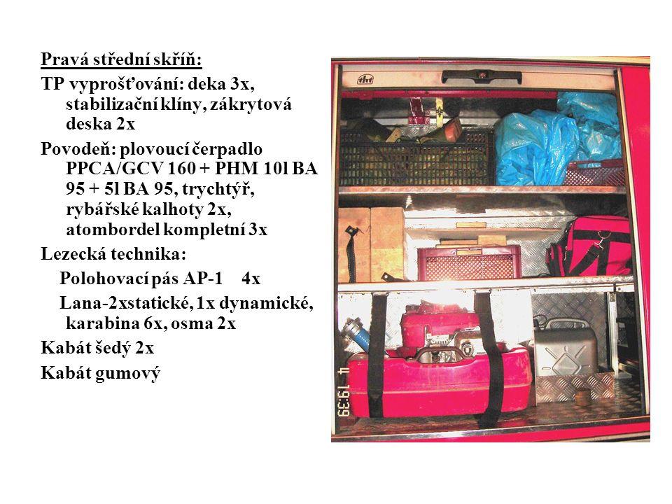Pravá střední skříň: TP vyprošťování: deka 3x, stabilizační klíny, zákrytová deska 2x Povodeň: plovoucí čerpadlo PPCA/GCV 160 + PHM 10l BA 95 + 5l BA 95, trychtýř, rybářské kalhoty 2x, atombordel kompletní 3x Lezecká technika: Polohovací pás AP-1 4x Lana-2xstatické, 1x dynamické, karabina 6x, osma 2x Kabát šedý 2x Kabát gumový