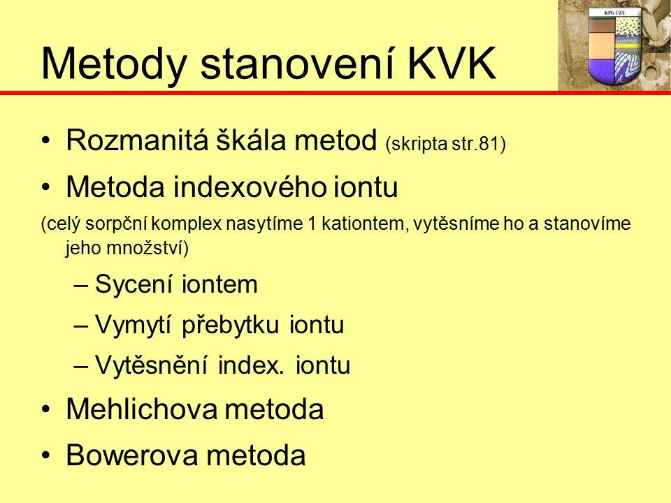 Metody stanovení KVK Rozmanitá škála metod (skripta str.81) Metoda indexového iontu (celý sorpční komplex nasytíme 1 kationtem, vytěsníme ho a stanovíme jeho množství) –S–Sycení iontem –V–Vymytí přebytku iontu –V–Vytěsnění index.