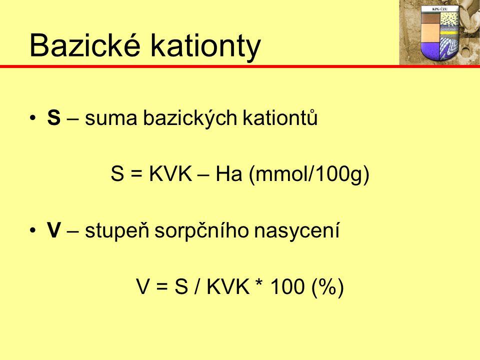 Bazické kationty S – suma bazických kationtů S = KVK – Ha (mmol/100g) V – stupeň sorpčního nasycení V = S / KVK * 100 (%)