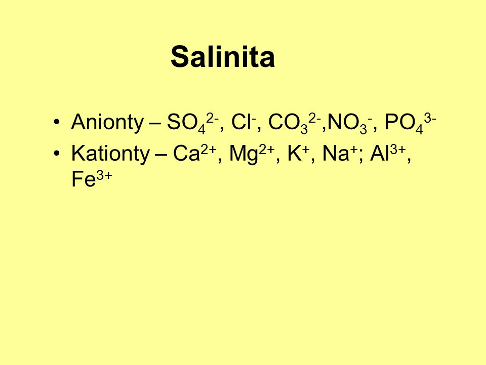 Salinita Anionty – SO 4 2-, Cl -, CO 3 2-,NO 3 -, PO 4 3- Kationty – Ca 2+, Mg 2+, K +, Na + ; Al 3+, Fe 3+