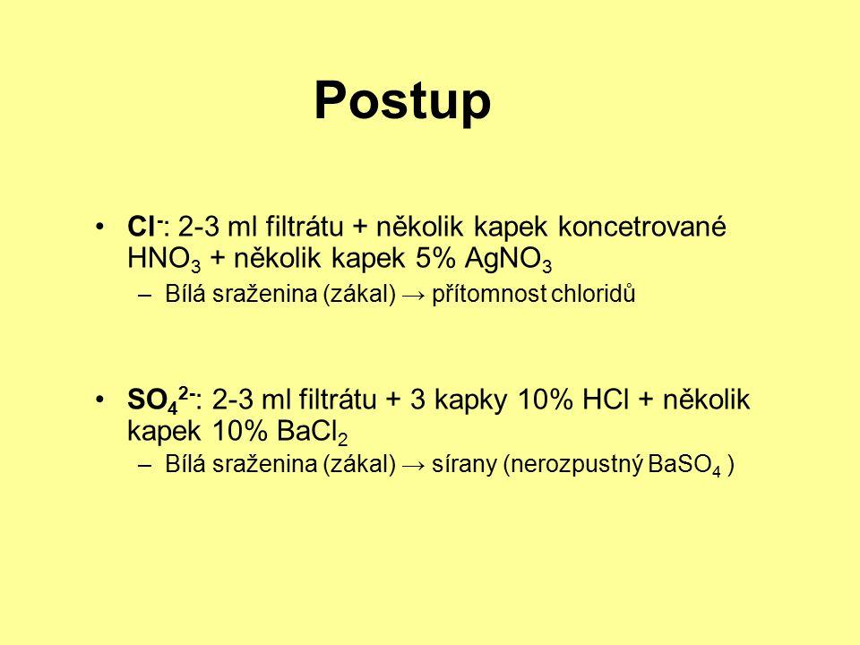 Postup Cl - : 2-3 ml filtrátu + několik kapek koncetrované HNO 3 + několik kapek 5% AgNO 3 –Bílá sraženina (zákal) → přítomnost chloridů SO 4 2- : 2-3 ml filtrátu + 3 kapky 10% HCl + několik kapek 10% BaCl 2 –Bílá sraženina (zákal) → sírany (nerozpustný BaSO 4 )