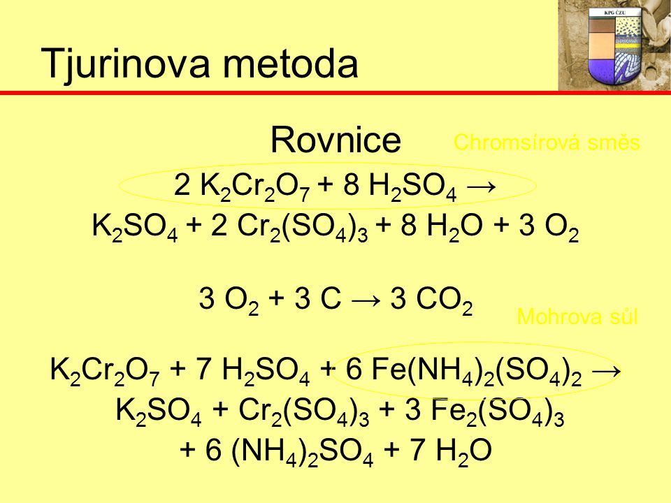 Tjurinova metoda Rovnice 2 K 2 Cr 2 O 7 + 8 H 2 SO 4 → K 2 SO 4 + 2 Cr 2 (SO 4 ) 3 + 8 H 2 O + 3 O 2 3 O 2 + 3 C → 3 CO 2 K 2 Cr 2 O 7 + 7 H 2 SO 4 + 6 Fe(NH 4 ) 2 (SO 4 ) 2 → K 2 SO 4 + Cr 2 (SO 4 ) 3 + 3 Fe 2 (SO 4 ) 3 + 6 (NH 4 ) 2 SO 4 + 7 H 2 O Chromsírová směs Mohrova sůl