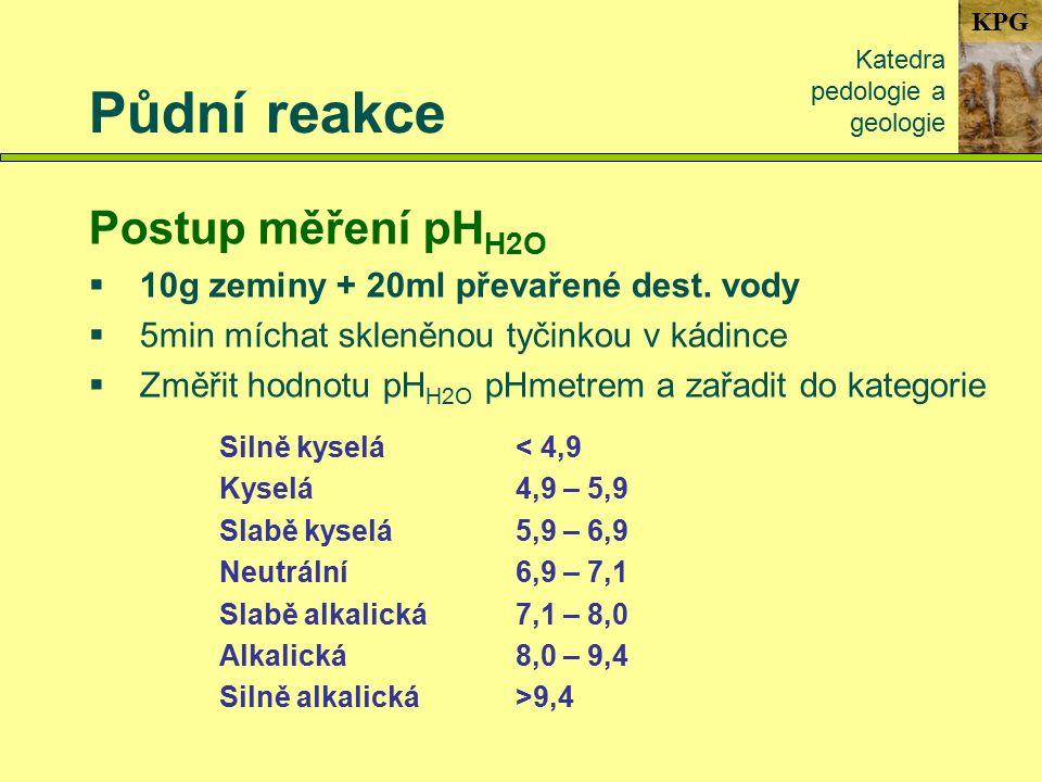 KPG Půdní reakce Katedra pedologie a geologie Postup měření pH H2O  10g zeminy + 20ml převařené dest.