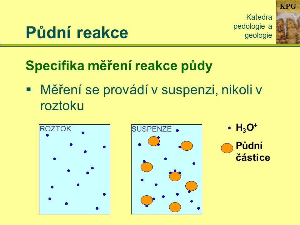 KPG Půdní reakce Katedra pedologie a geologie Specifika měření reakce půdy  Měření se provádí v suspenzi, nikoli v roztoku H3O+H3O+ Půdní částice ROZTOK SUSPENZE