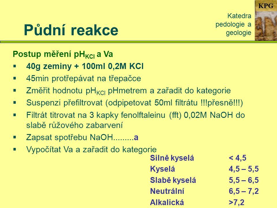 KPG Půdní reakce Katedra pedologie a geologie Postup měření pH KCl a Va  40g zeminy + 100ml 0,2M KCl  45min protřepávat na třepačce  Změřit hodnotu pH KCl pHmetrem a zařadit do kategorie  Suspenzi přefiltrovat (odpipetovat 50ml filtrátu !!!přesně!!!)  Filtrát titrovat na 3 kapky fenolftaleinu (fft) 0,02M NaOH do slabě růžového zabarvení  Zapsat spotřebu NaOH.........a  Vypočítat Va a zařadit do kategorie Silně kyselá< 4,5 Kyselá4,5 – 5,5 Slabě kyselá5,5 – 6,5 Neutrální6,5 – 7,2 Alkalická>7,2