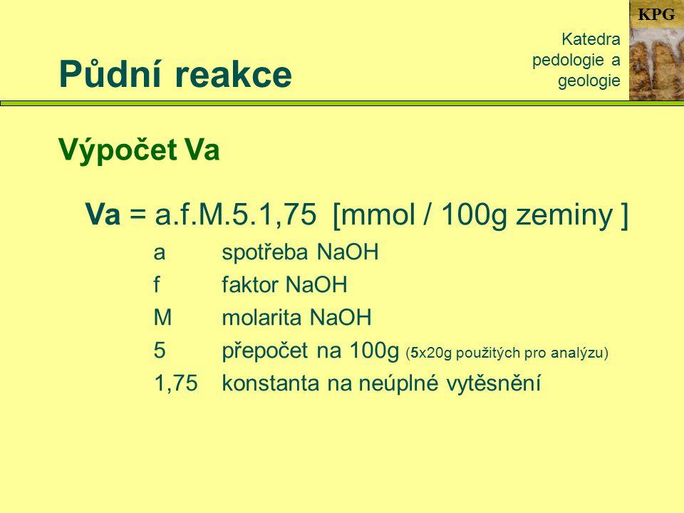 KPG Půdní reakce Katedra pedologie a geologie Výpočet Va Va = a.f.M.5.1,75 [mmol / 100g zeminy ] aspotřeba NaOH ffaktor NaOH Mmolarita NaOH 5přepočet na 100g (5x20g použitých pro analýzu) 1,75konstanta na neúplné vytěsnění
